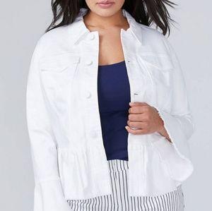NWT Ruffle Peplum Denim Jacket with Bell Sleeves